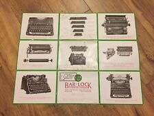 "Typewriter Advertisement Poster ""Bar-Lock Model 22""  c1921 Genuine Vintage"