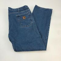 Carhartt Jeans Mens 42X32 Blue Straight Leg 100% Cotton Medium Wash 5 Pockets