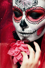 BEAUTIFUL MEXICAN SUGAR SKULL CANVAS PICTURE #39 STUNNING GOTHIC BRIDE CANVAS