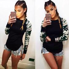 Womens Camouflage Army Raglan Top Blouse Curve Hem Dip Casual Jumpers Sweatshirt