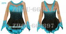 Girl Women latin Rumba Ice Skating Dress Competition Custom Spandex blue black