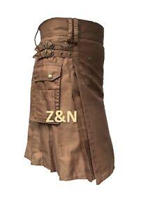 """Men's Brand New Khaki """"Beige"""" 100% Cotton Utility Kilt"""