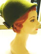 "Vintage Green Wool Velour Cloche Hat ""Betmar"" #601"