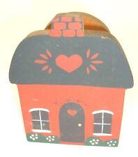 Vintage Wood Folk Art Napkin or Letter Holder House Home Country kitsch