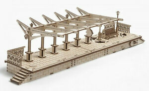 UGears RAILWAY PLATFORM mechanical wooden 3D puzzle Model for self-assembly