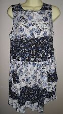 TOP SHOP NAVY FLORAL SHORT DRESS / SMOCK WITH POCKETS SIZE 10