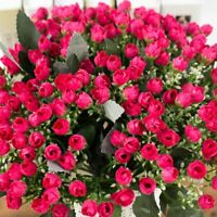 36HEADS ARTIFICIAL SILK FLOWERS BUNCH Wedding Home Grave Outdoor Bouquet #NE8X