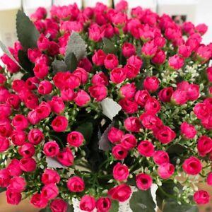 36HEADS ARTIFICIAL SILK FLOWERS BUNCH Wedding Grave Outdoor Bouquet Decor #E18