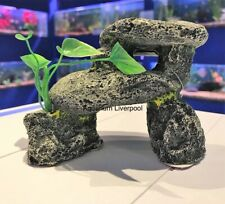 Small Grey Stone Hideaway Aquarium Ornament with Plastic Plant 214