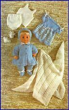 Vintage Baby Dolls Clothes Knitting Pattern Copy  40 cm dolls 4 ply