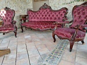Salotto divano poltrone originale luigi filippo napoletano 1850 mogano