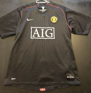Men's Nike Manchester United AIG Black Soccer Jersey Sz XL