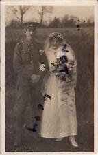 WW1 Pte RMLI Royal Marine Light Infantry & Bride on Wedding Day Colchester