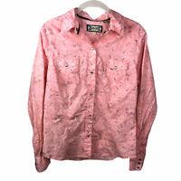 Shyanne Women's Medium Pearl Snap Western Floral Pink Long Sleeve Shirt