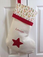 Personalised Xmas Stocking Reindeer large embroidered Handmade 51x37cm Xmas RED