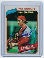 1980 CARDINALS Ted Simmons signed card Topps #85 AUTO Autograhed St. Louis HOF