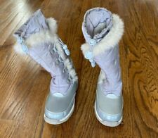 Lands' End Girl's Snow Boots Fur Insulated~Lined Silver/Gray Lace Up Sz 11M