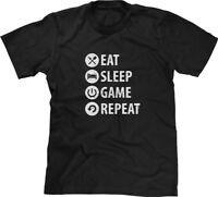 Eat Sleep Game Repeat Video Gamer Nerd Geek Console Player Mens Tee