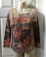 SUSAN LAWRENCE Women's Graphic Rhinestone Blouse / Top - Size Small