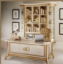 Klassisches Barock Stil Büro Schreibtisch Vitrine Stuhl Kommode Komplett Set Neu