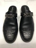 "Minnetonka Women's Black Leather Shoes Slip On Mules 1.5"" Heel Size 10"