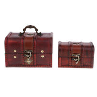 2PCS Retro Wooden Jewelry Storage Box Treasure Chest Organizer Holder Gift Box