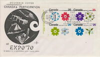 CANADA #508-511 25¢  EXPO 70 UL PLATE BLOCK ON ROSE CRAFT CACHET FIRST DAY COVER
