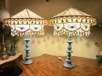 2 Vintage Italian Porcelain El Table Lamps with Big Vintage Lamp Covers