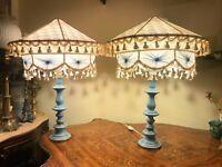 2 Vintage Italian Porcelain El Table Lamps with Big Vintage Lamp Covers
