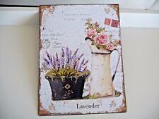 NEU Shabby Blechschild Wandbild Bild Lavender Rose Retro Stil 33x25cm Metall NEU
