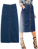 NEW Womens Midi Length Blue Long Button Up Denim Skirt Indigo Size 6 8 10 12 14