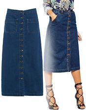 Mujer Medio Largo Azul Con Botones Vaqueros Falda índigo talla 6 8 10 12 14