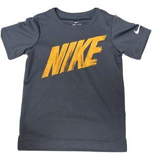 Nike Boys Grey Tshirt Size 4T Orange Logo
