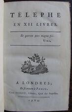 [ PECHMEJA JEAN DE ] TELEPHE EN XII LIVRES , 1784  ESOTERISME FRANC-MACONNERIE
