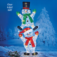 4 Ft. Tall Lighted Sparkling Festive Frosty The Snowmen Christmas Yard Stake