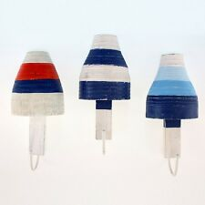 Set of 3 Buoy Wall Hook Towel Coat Hat Keys Hooks Hanger Nautical Beach Decor