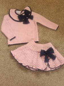 Rahigo Pink And Navy Toddler Winter 2 Piece Skirt Knit Spanish outfit Age 3