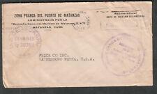 WWII US Censorship 30301 penalty cover Zona Franca Del Puerto De Matanzas to PA