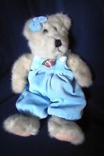 """Boyds Bears Weighted Classic Jointed 11"""" Bear in Blue Velour Romper"""