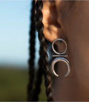 LADIES WOMENS BOHO TRIBAL BIG MOON SILVER STUD EARRINGS  PAIR UK SELLER
