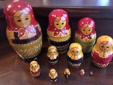 Matrioska Vyatka antica,11 bambole, betulla, Russia 1950-60, altezza 19.5 cm