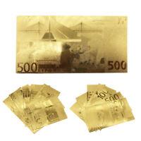 1 Set Euro Plastic Banknote Gold Foil Paper Money Craft Collection Commemorative
