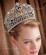 Large Pageant Beauty Contest Crown Tall Tiara Adjustable Wedding Party T1587