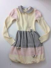 Baby Graziella 100% Lana Wool Dress Age 6 Years Vgc Cream Pink Grey