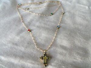 Virgin Saints & Angels (VSA) Pink Beads /Multi Stones 3 Strand Cross Necklace