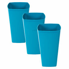 3 x 29cm Tall Blue Plastic Vases Flower Plant Flower Pots Home Kitchen Table Top