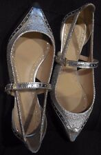 NEW Tory Burch Leather Silver Mary Jane Flats Bernadette Shoes Sz 7 New $265
