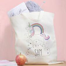 Personalised Unicorn Cotton Bag Rainbow Magic Shopper Cotton Shoulder Shopping