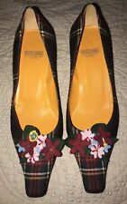 Moschino Cheap & Chic Plaid Grey Red Kitten Heel Low Flower Accent 40 M EUC