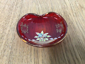 Vintage Unique Hand Painted Red Glass Trinket Dish - 1950s